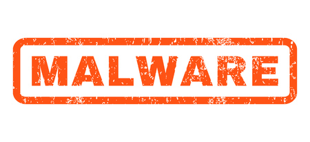 malware: Malware text rubber seal stamp watermark. Caption inside rounded rectangular shape with grunge design and unclean texture. Horizontal glyph orange ink emblem on a white background.