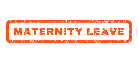 Zwangerschapsverlof tekst rubber zegel watermerk. Tag binnenkant afgeronde rechthoekige vorm met grunge ontwerp en krabde textuur. Horizontale glyph oranje inkt teken op een witte achtergrond.