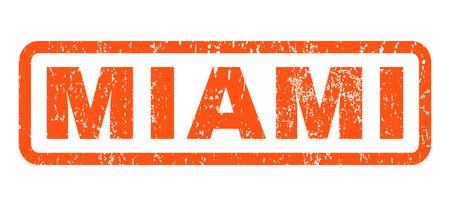 Miami text rubber seal stamp watermark. Tag inside rounded rectangular banner with grunge design and dirty texture. Horizontal glyph orange ink emblem on a white background.