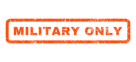 military draft: Military Only text rubber seal stamp watermark. Tag inside rounded rectangular banner with grunge design and dirty texture. Horizontal glyph orange ink sign on a white background. Stock Photo
