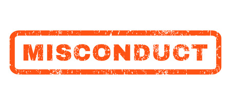 misconduct: Misconduct text rubber seal stamp watermark. Caption inside rounded rectangular shape with grunge design and scratched texture. Horizontal glyph orange ink emblem on a white background. Stock Photo