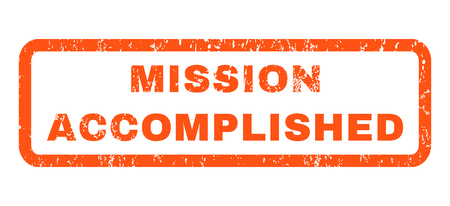 splashed: Mission Accomplished text rubber seal stamp watermark. Tag inside rounded rectangular shape with grunge design and scratched texture. Horizontal glyph orange ink sticker on a white background.