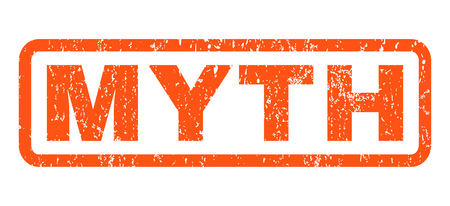 Myth text rubber seal stamp watermark. Tag inside rounded rectangular banner with grunge design and dust texture. Horizontal glyph orange ink emblem on a white background. Stock Photo