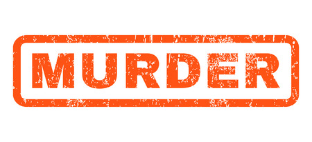 murder: Murder text rubber seal stamp watermark. Caption inside rounded rectangular shape with grunge design and dirty texture. Horizontal glyph orange ink sticker on a white background.