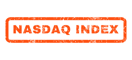 nasdaq: Nasdaq Index text rubber seal stamp watermark. Tag inside rounded rectangular shape with grunge design and dirty texture. Horizontal glyph orange ink sticker on a white background. Stock Photo