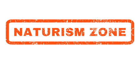 naturism: Naturism Zone text rubber seal stamp watermark. Caption inside rounded rectangular banner with grunge design and dirty texture. Horizontal glyph orange ink emblem on a white background.