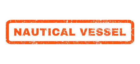 nautical   vessel: Nautical Vessel text rubber seal stamp watermark. Tag inside rounded rectangular banner with grunge design and dirty texture. Horizontal glyph orange ink emblem on a white background.