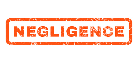 negligence: Negligence text rubber seal stamp watermark. Caption inside rounded rectangular shape with grunge design and scratched texture. Horizontal glyph orange ink sticker on a white background. Stock Photo