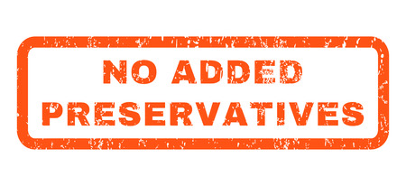 preservatives: No Added Preservatives text rubber seal stamp watermark. Tag inside rounded rectangular shape with grunge design and dirty texture. Horizontal glyph orange ink sign on a white background.