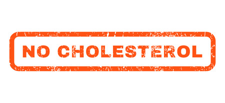nil: No Cholesterol text rubber seal stamp watermark. Tag inside rounded rectangular shape with grunge design and scratched texture. Horizontal glyph orange ink emblem on a white background.