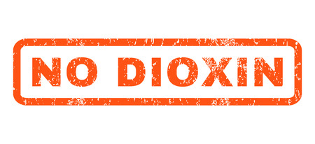 dioxin: No Dioxin text rubber seal stamp watermark. Tag inside rounded rectangular banner with grunge design and dirty texture. Horizontal glyph orange ink sign on a white background. Stock Photo