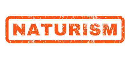 naturism: Naturism text rubber seal stamp watermark. Tag inside rounded rectangular shape with grunge design and dirty texture. Horizontal glyph orange ink emblem on a white background.
