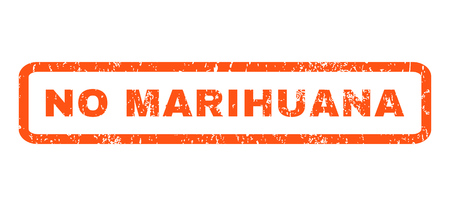 marihuana: No Marihuana text rubber seal stamp watermark. Caption inside rounded rectangular banner with grunge design and scratched texture. Horizontal glyph orange ink emblem on a white background.