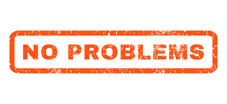 no problems: No Problems text rubber seal stamp watermark. Tag inside rounded rectangular banner with grunge design and unclean texture. Horizontal glyph orange ink sign on a white background.