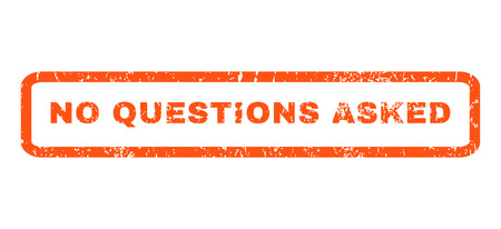asked: No Questions Asked text rubber seal stamp watermark. Tag inside rounded rectangular banner with grunge design and dust texture. Horizontal glyph orange ink emblem on a white background.