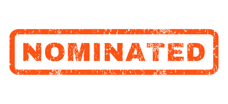 nominated: Nominated text rubber seal stamp watermark. Caption inside rounded rectangular banner with grunge design and dirty texture. Horizontal glyph orange ink sticker on a white background.