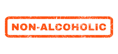 nonalcoholic: Non-Alcoholic text rubber seal stamp watermark. Tag inside rounded rectangular shape with grunge design and scratched texture. Horizontal glyph orange ink sticker on a white background.