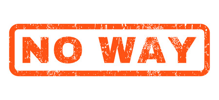 No Way text rubber seal stamp watermark. Tag inside rounded rectangular shape with grunge design and unclean texture. Horizontal glyph orange ink sticker on a white background. Stock Photo