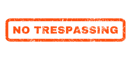 prohibido el paso: No Trespassing text rubber seal stamp watermark. Caption inside rounded rectangular banner with grunge design and unclean texture. Horizontal glyph orange ink sign on a white background.