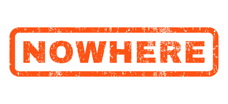 Nowhere text rubber seal stamp watermark. Tag inside rounded rectangular shape with grunge design and dust texture. Horizontal glyph orange ink emblem on a white background.