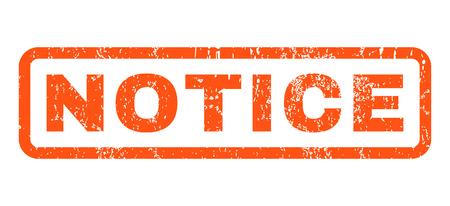 Hinweis Text Gummidichtung Stempel Wasserzeichen. Markieren Sie innerhalb der gerundeten rechteckigen Fahne mit Schmutzentwurf und verkratzter Beschaffenheit. Horizontales Zeichen orange Zeichen der Glyph auf einem weißen Hintergrund.