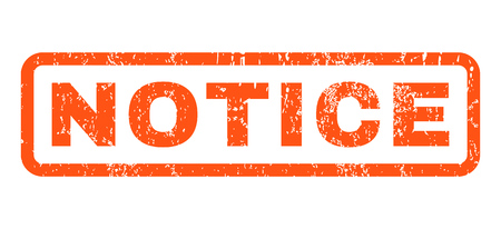 Notice text rubber seal stamp watermark. Tag inside rounded rectangular banner with grunge design and scratched texture. Horizontal glyph orange ink sign on a white background. Stock Photo
