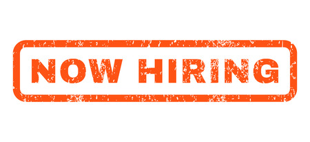 now hiring: Now Hiring text rubber seal stamp watermark. Caption inside rounded rectangular banner with grunge design and scratched texture. Horizontal glyph orange ink sticker on a white background.