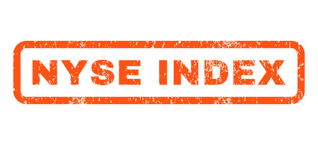 nyse: Nyse Index text rubber seal stamp watermark. Caption inside rounded rectangular shape with grunge design and dirty texture. Horizontal glyph orange ink emblem on a white background. Stock Photo