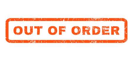 out of order: Out Of Order text rubber seal stamp watermark. Tag inside rounded rectangular banner with grunge design and unclean texture. Horizontal glyph orange ink sticker on a white background. Stock Photo