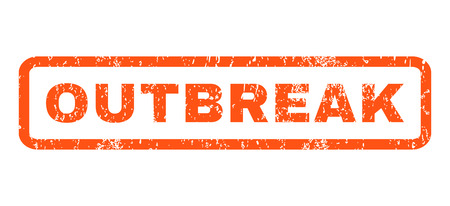 outbreak: Outbreak text rubber seal stamp watermark. Caption inside rounded rectangular banner with grunge design and dust texture. Horizontal glyph orange ink sticker on a white background. Stock Photo