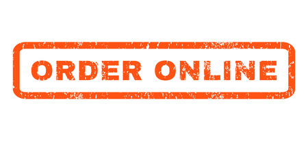 order online: Order Online text rubber seal stamp watermark. Tag inside rounded rectangular shape with grunge design and dust texture. Horizontal glyph orange ink sticker on a white background.