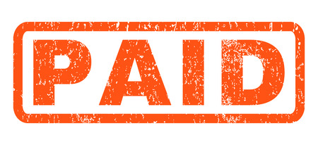 Paid text rubber seal stamp watermark. Caption inside rounded rectangular banner with grunge design and unclean texture. Horizontal glyph orange ink emblem on a white background. Stock Photo