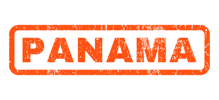 panamanian: Panama text rubber seal stamp watermark. Tag inside rounded rectangular banner with grunge design and dirty texture. Horizontal glyph orange ink sticker on a white background. Stock Photo