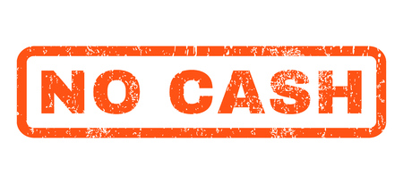 No Cash text rubber seal stamp watermark. Tag inside rounded rectangular shape with grunge design and dust texture. Horizontal glyph orange ink sign on a white background.
