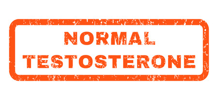 testosterone: Normal Testosterone text rubber seal stamp watermark. Caption inside rounded rectangular shape with grunge design and unclean texture. Horizontal glyph orange ink sticker on a white background. Stock Photo