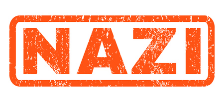 nazi: Nazi text rubber seal stamp watermark. Caption inside rounded rectangular banner with grunge design and dust texture. Horizontal vector orange ink sign on a white background. Illustration