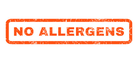 allergens: No Allergens text rubber seal stamp watermark. Caption inside rounded rectangular shape with grunge design and scratched texture. Horizontal vector orange ink emblem on a white background.