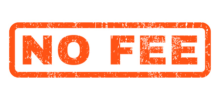 No Fee text rubber seal stamp watermark. Caption inside rounded rectangular banner with grunge design and unclean texture. Horizontal vector orange ink sign on a white background.
