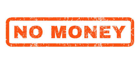inability: No Money text rubber seal stamp watermark. Tag inside rounded rectangular banner with grunge design and dust texture. Horizontal vector orange ink sticker on a white background.