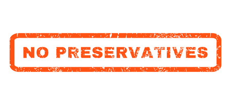 preservatives: No Preservatives text rubber seal stamp watermark. Caption inside rounded rectangular shape with grunge design and unclean texture. Horizontal vector orange ink emblem on a white background.