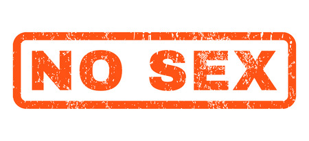 No Sex text rubber seal stamp watermark. Caption inside rounded rectangular banner with grunge design and unclean texture. Horizontal vector orange ink sign on a white background. Illustration