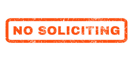 soliciting: No Soliciting text rubber seal stamp watermark. Caption inside rounded rectangular banner with grunge design and dirty texture. Horizontal vector orange ink sign on a white background.