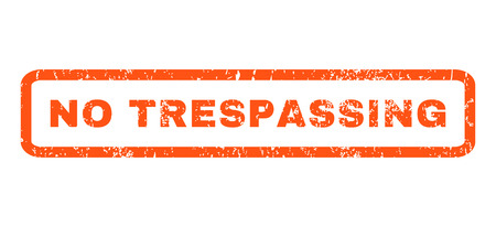 trespassing: No Trespassing text rubber seal stamp watermark. Caption inside rounded rectangular banner with grunge design and scratched texture. Horizontal vector orange ink emblem on a white background.