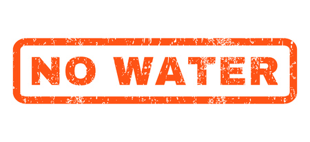 No Water text rubber seal stamp watermark. Tag inside rounded rectangular banner with grunge design and dirty texture. Horizontal vector orange ink sign on a white background. Vectores