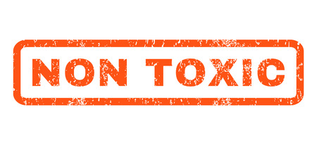 non toxic: Non Toxic text rubber seal stamp watermark. Tag inside rounded rectangular banner with grunge design and dust texture. Horizontal vector orange ink sign on a white background.