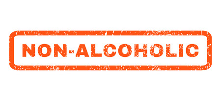 nonalcoholic: Non-Alcoholic text rubber seal stamp watermark. Caption inside rounded rectangular shape with grunge design and scratched texture. Horizontal vector orange ink sign on a white background.