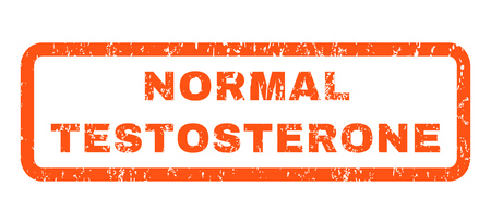 testosterone: Normal Testosterone text rubber seal stamp watermark. Tag inside rounded rectangular shape with grunge design and unclean texture. Horizontal vector orange ink sign on a white background.