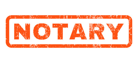 notary: Notary text rubber seal stamp watermark. Caption inside rounded rectangular banner with grunge design and scratched texture. Horizontal vector orange ink sticker on a white background.