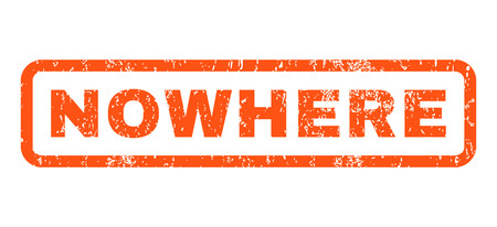 nowhere: Nowhere text rubber seal stamp watermark. Tag inside rounded rectangular shape with grunge design and dust texture. Horizontal vector orange ink emblem on a white background. Illustration