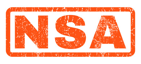 NSA text rubber seal stamp watermark. Tag inside rounded rectangular shape with grunge design and unclean texture. Horizontal vector orange ink sign on a white background. Illustration